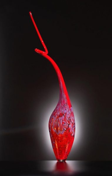 Pink Glass Sculpture from The Dinosaur Serie by artist
