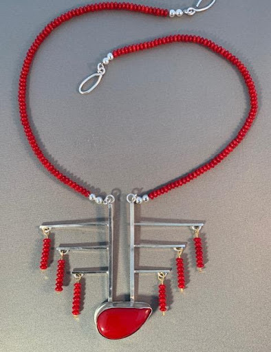Necklace (unique) Sterling silver, Red coral