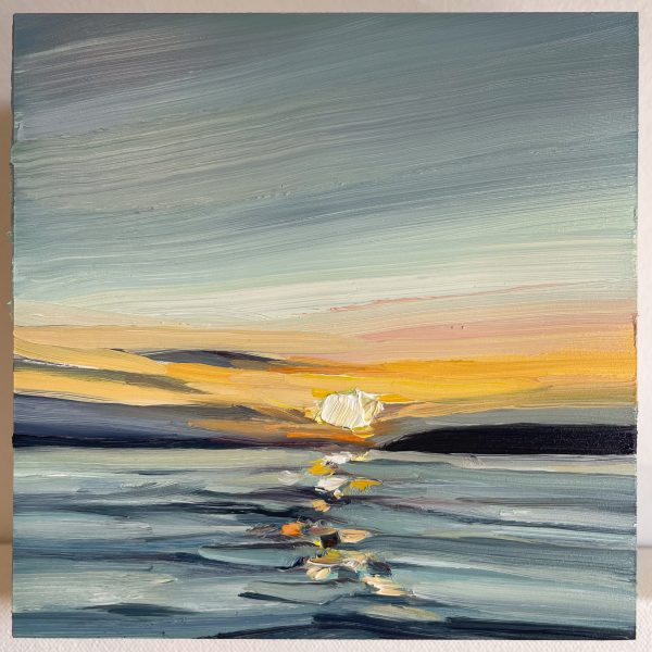 Oil painting of a sunset with blue and orange colors.