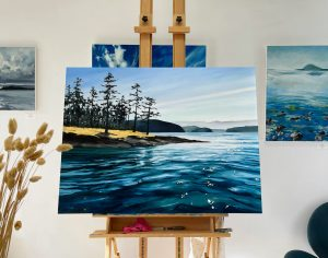 Oil painting of Blakely Harbor with silhouetted trees and blue water.
